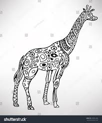 giraffe handdrawn ethnic pattern coloring page stock vector