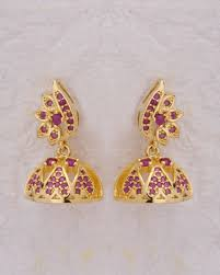 jhumka earrings buy dainty pink embellished jhumka earrings online india