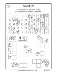1st grade kindergarten math worksheets sneaky snake numbers