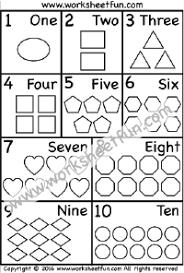 numbers 1 10 u2013 numbers in words u2013 shapes u2013 one worksheet