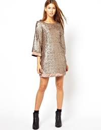 jarlo sequin tunic dress with flute sleeves in metallic lyst
