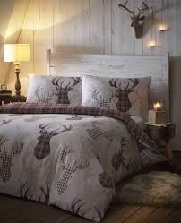 amazon com tartan check stag rein deer duvet quilt cover king