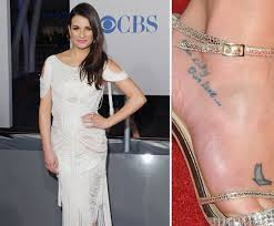 lea michele has two tattoos on her right foot u2014 one is a butterfly