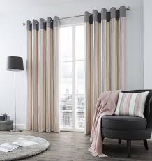 Pink And Grey Curtains Vertical Stripe Pink Grey Lined Ring Top Curtains 8 Sizes Ebay