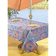 Patio Table Cover With Zipper Amazon Com High Quality Outdoor Tablecloths Umbrella Hole With