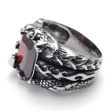 gothic ruby rings images Mendino men 39 s stainless steel ring fire dragon claw square red jpg