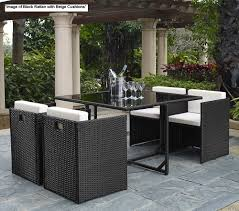 Bali Rattan Garden Furniture by St Lucia 5 Piece Table And 4 Chairs Cube Rattan Outdoor Garden