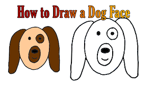 how to draw a dog face easy and simple animal drawing for kids