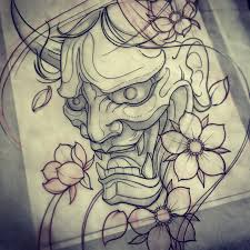 hannya mask tattoo black and grey japanese demon mask drawing at getdrawings com free for personal