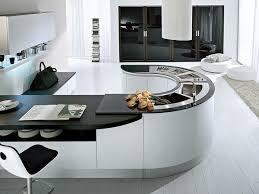 Black And White Contemporary Kitchen - kitchen nice modern curved kitchen island black and white modern