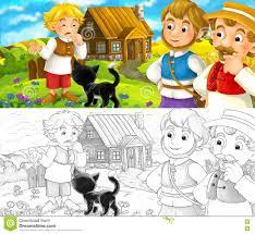 cartoon scene group talking small village