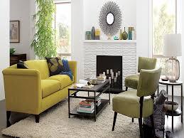 yellow wood coffee table living room yellow fabric loveseat sofa white shag rug black wood