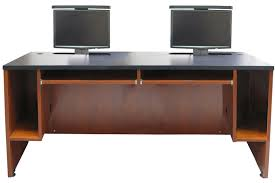 Computer Desk For Two Monitors Ds 7230 Dual User Desk Two Monitor Lifts Exact Furniture Av Iq
