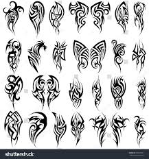 Tattoos In - set 24 tribal tattoos black color stock vector 308795291