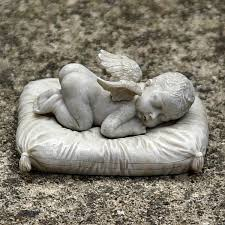baby cherub on pillow grave ornament projects to try