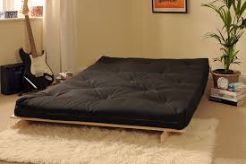 Futon Bed by 4ft6 135cm Wooden Futon With Black Mattress Co Uk