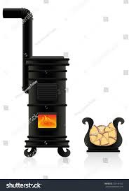 potbelly stove antique cast iron stove stock vector 726146182