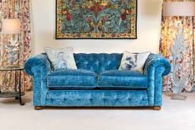 Blue Velvet Chesterfield Sofa by Living Room John Young Furnishings