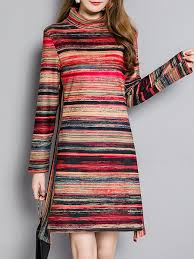 high low stripes long sleeve turtleneck plus size dress
