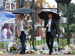 princess diana william and harry view tributes left in memory of