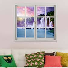 waterfall pag 3d artificial window wall decals colorfullcloud room