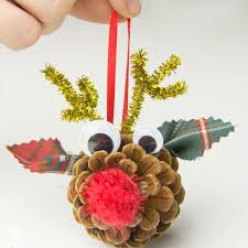 pinecone reindeer homemade ornaments kids craft room