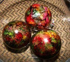 water color ink ornaments handmade ornaments