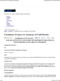chemistry project on analysis of cold drinks sucrose carbohydrates