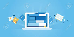 design online education flat line design website banner of e learning e book online