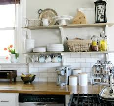 Open Kitchen Shelving Ideas by White Brick Wall Tiles And Rustic Open Shelving Ideas For French
