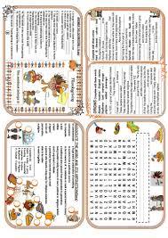thanksgiving minibook worksheet free esl printable worksheets