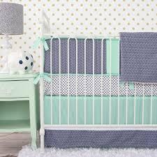 Chevron Boy Crib Bedding Caden Baby Bedding Mint And Navy Chevron Baby Bedding
