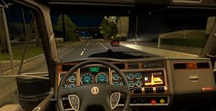 kenworth t900 kenworth w900 blue dashboard gauges mod american truck simulator