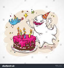 cartoon illustration ghost happy birthday cake stock vector