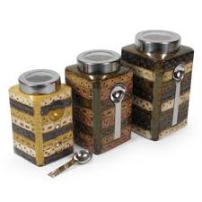 earthy kitchen food canisters with magnetic spoons home interior