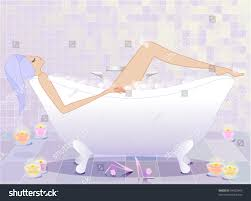 soothing bubble bath illustration young woman stock vector