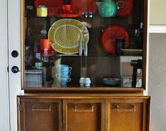 Compact Storage Cabinets 2 Part Mid Century Danish Modern Walnut Display China Cabinet Wall