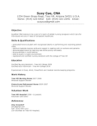 Resume Sample Format No Experience by Sample Resume For Certified Nursing Assistant With No Experience