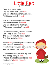 red riding hood poem free printable fairy tale lesson