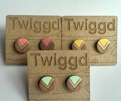 wooden stud earrings gold chevron wooden stud earrings by twiggd notonthehighstreet
