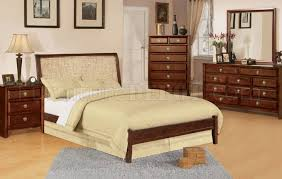 modern walnut finish bed w water hyacinth curved headboard