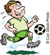 vector of table football player sketch hand drawn cartoon icon of