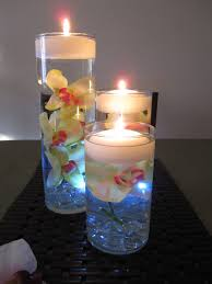 Vases With Flowers And Floating Candles Green U0026 Pink Orchid Floating Candle Wedding Centerpiece