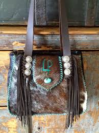 Hair On Cowhide Purse Bonnie Bag With Turquoise Suede Stitching And Initials Custom