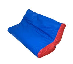 harrison and company blue red double seat high back bean bag chair