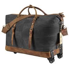 travel duffel bags images Kattee luggage rolling duffel bag leather trim canvas travel bag jpg