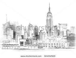 pencil sketch skyline modern buildings dubai stock illustration