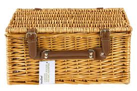 wine picnic basket vonshef 4 person wicker picnic with flatware plates and