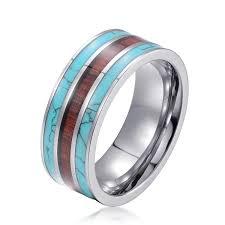 cincin tungsten carbide new tungsten carbide ring blue emerald turquoise wooden