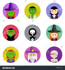 halloween characters clipart vector flat icons long shadow halloween stock vector 457478026
